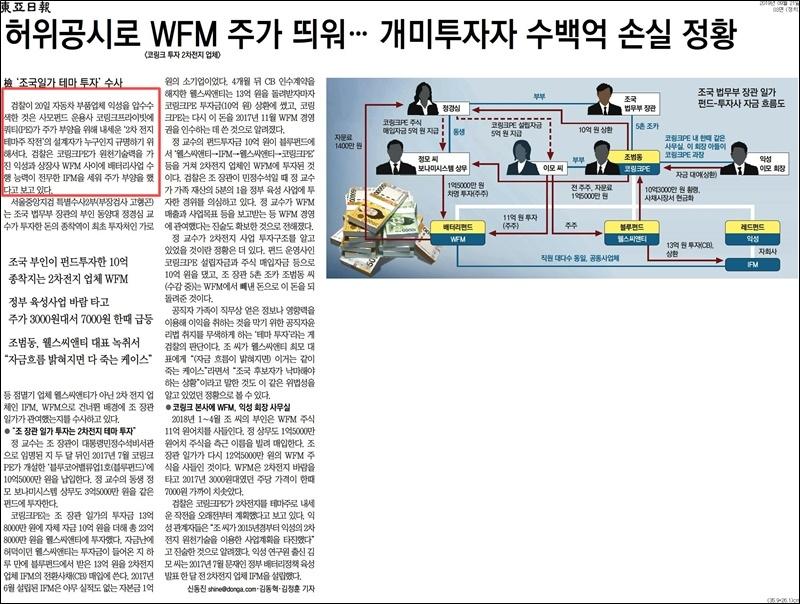 ▲ 신문윤리위원회가 제재한 동아일보 지난 9월21일자 3면 보도.