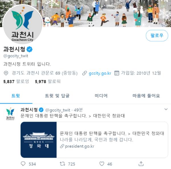 ▲ 경기도 과천시 트위터 계정 갈무리.