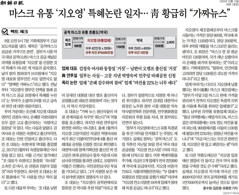▲ 지난 3월10일 청와대가 '황급히' 마스크 공급업체 관련 허위조작정보를 진화했다고 보도한 조선일보