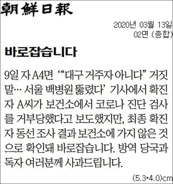 ▲지난 13일자 조선일보 2면 바로잡습니다