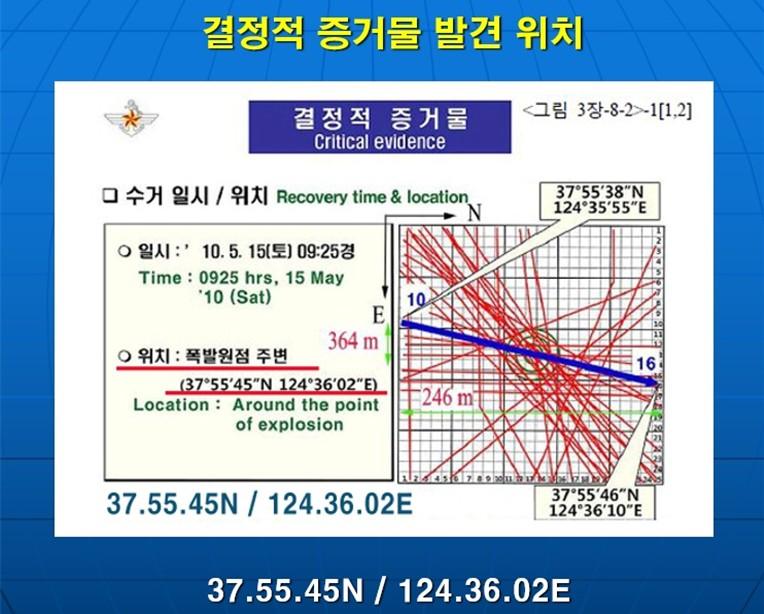 ▲천안함 결정적 증거물(어뢰추진체)을 쌍끌이어선으로 수색했다고 밝힌 구역. 사진=천안함 피격사건 합동조사결과 보고서
