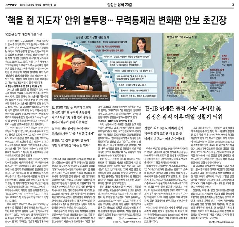 ▲2일 동아일보 3면.
