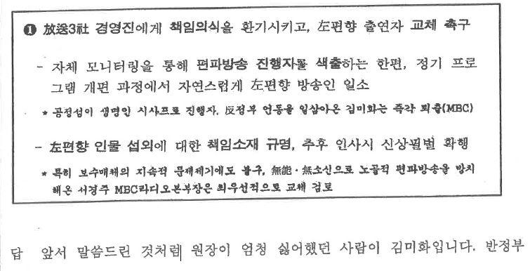 """▲국정원이 2010년 11월4일 작성한 'VIP 일일보고' """"좌편향 방송인에 대한 온정주의 확산조짐 엄단"""" 문건 일부."""