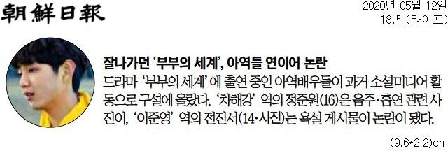 ▲조선일보가 부부의 세계 아역 논란을 짧게 언급한 기사.