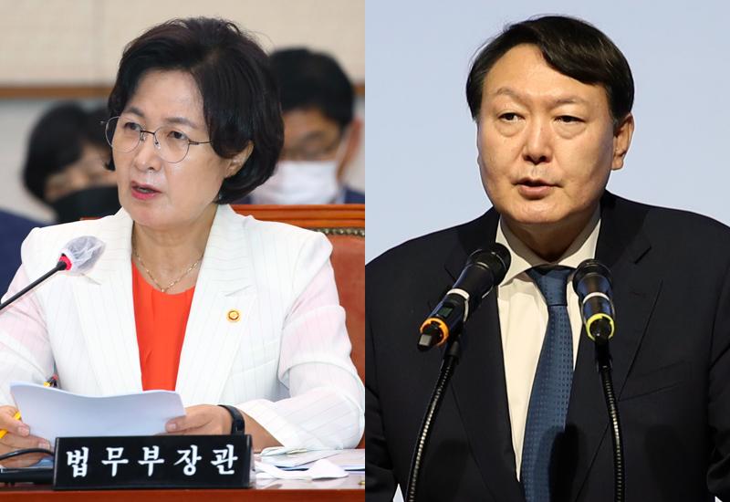 ▲ 추미애 법무부장관(왼쪽)과 윤석열 검찰총장. 사진=연합뉴스