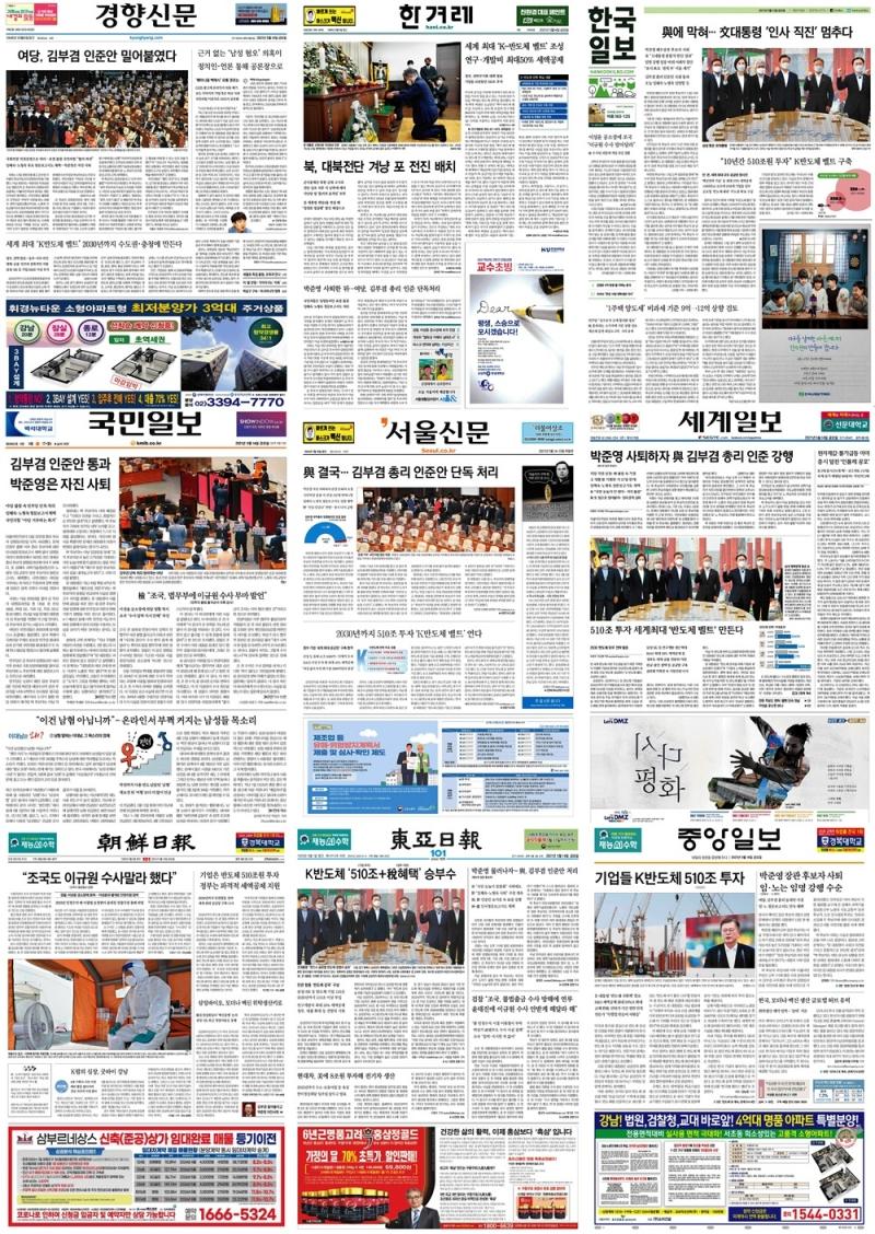 ▲ 14일 종합일간지 1면 기사 모음